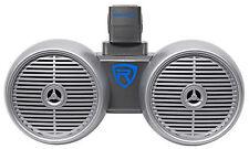 """Rockville DWB65S Dual 6.5"""" Silver 600 Watt Marine Wakeboard Tower Speaker System"""