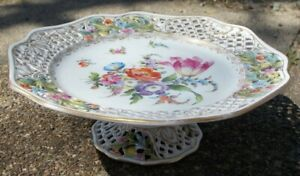 Carl Thieme Dresden Flowers Porcelain Hand Painted Reticulated Tazza Cake Stand