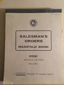 Persevering Wilson Jones Salesmans Orders Manifold Book S9581 Triplicate 50 Sets Commodities Are Available Without Restriction Business & Industrial