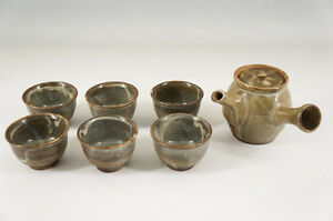 Japan-SHIGARAKI-Ware-Pottery-Teaset-Teapot-Teacup-Free-Ship-692r28