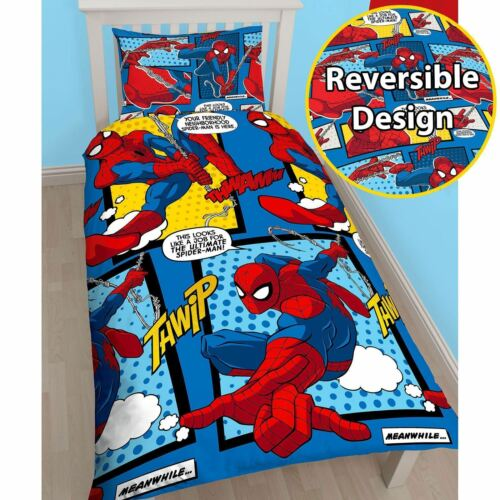 KIDS BEDDING NEW ROTARY OFFICIAL SPIDERMAN WEBHEAD SINGLE DUVET COVER SET
