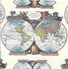 Lot de 2 Serviettes en papier Carte du Monde Decoupage Collage Decopatch