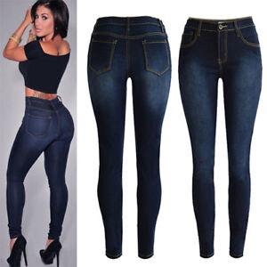 Womens-Ladies-Skinny-Slim-Denim-Jeans-High-Waist-Stretch-Pencil-Pants-Trousers