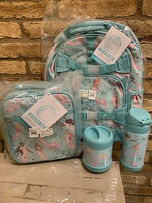 Pottery Barn Kids Magical Mermaid Large Backpack Lunchbox Water Bottle Set New
