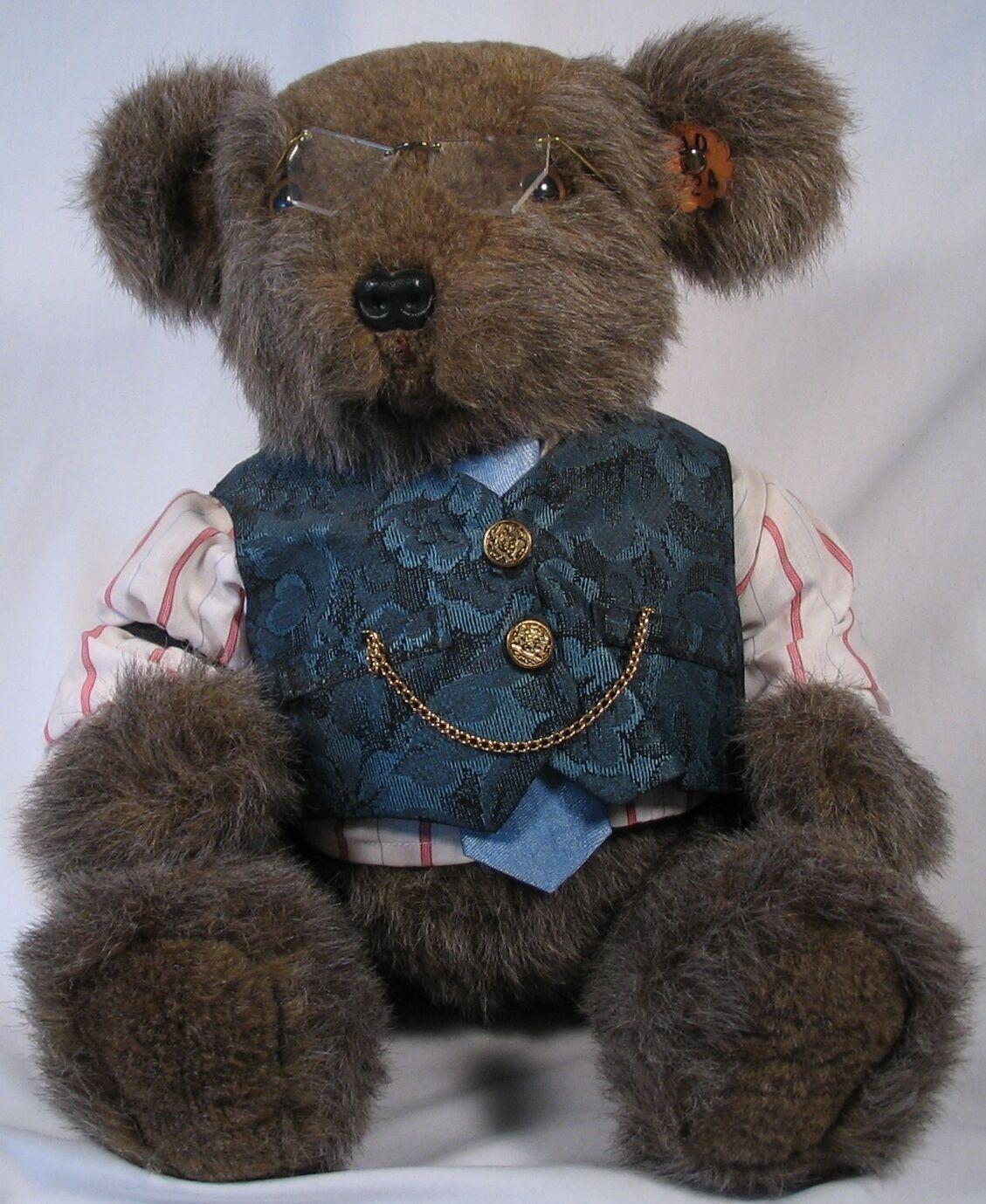 Gramps Bear, Bellissimoly hand made wears glasses & vest