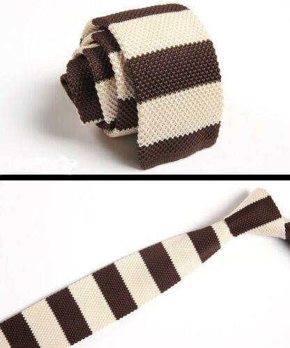 Men/'s Creamy Brown Striped Tie Knit Knitted Necktie Slim Skinny Woven ZZLD025