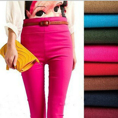 Candy Color Women Stretch High Waist Skinny Slim Pencil Pants Leggings Trousers