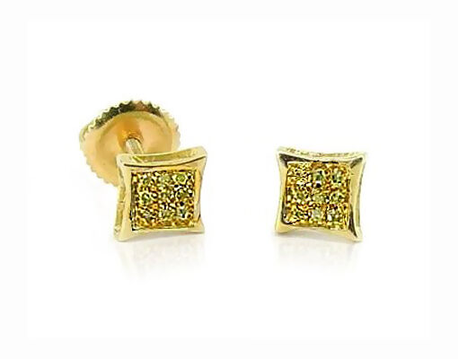 10K Yellow gold Yellow Diamond Earrings Micro Pave Diamond Kite Shape Stud .05ct