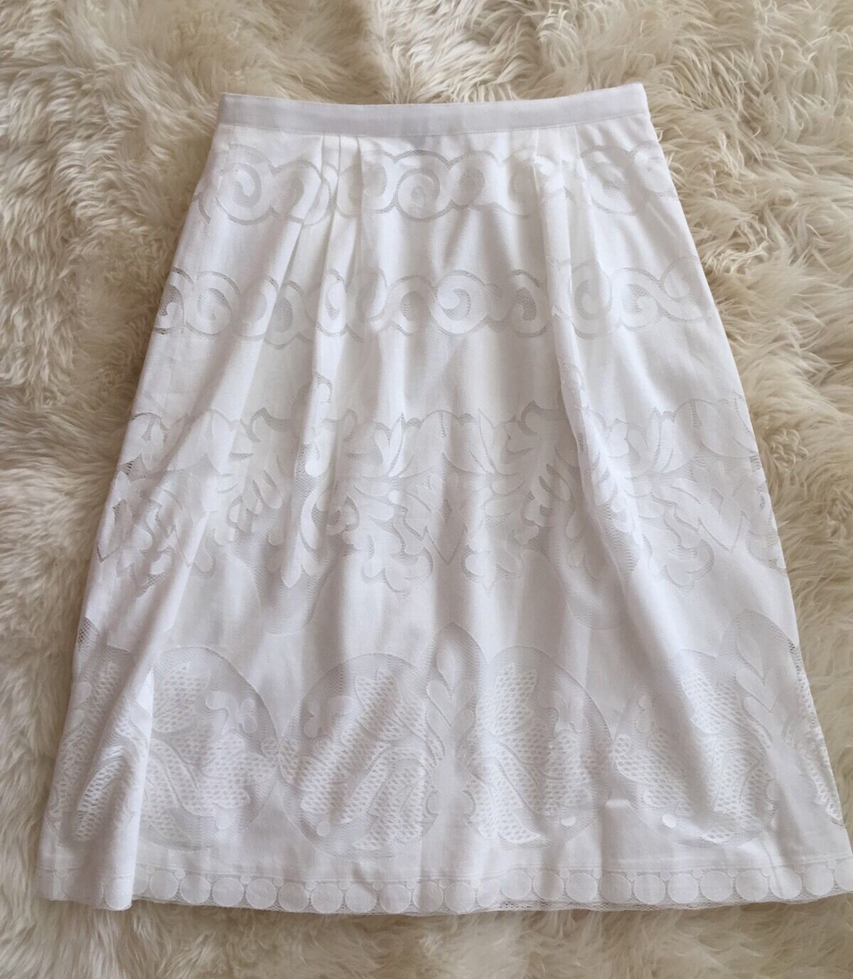 J CREW Midi Skirt in Ornate Lace Size 8 White  e9057  NEW