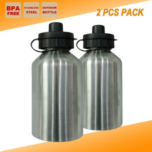 2x Stainless Steel Office Water Bottle Camping Outdoor Sport Training Kettle Cup