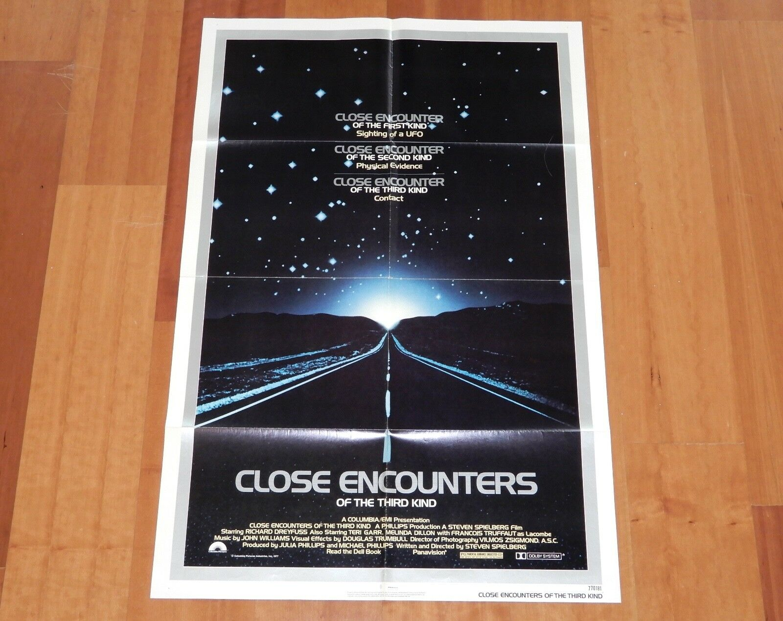 ORIGINAL MOVIE POSTER CLOSE ENCOUNTERS OF THE THIRD KIND 1977 FOLDED ONE SHEET
