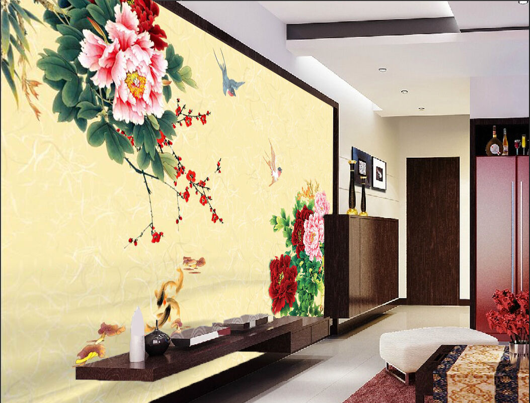 3D Flowers blooming retro Wall Paper Print Decal Wall Deco Indoor wall Mural