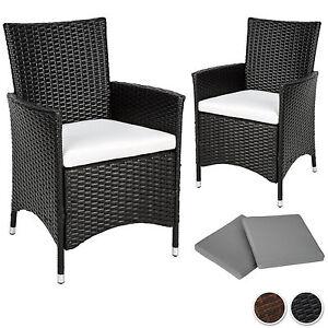 2 pezzi sedie da esterno sedia da giardino poli rattan alu poltrona set ebay - Sedie da giardino rattan ...