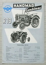 HANOMAG R19 TRACTOR Sales / Specification Leaflet c1955 SWEDISH TEXT