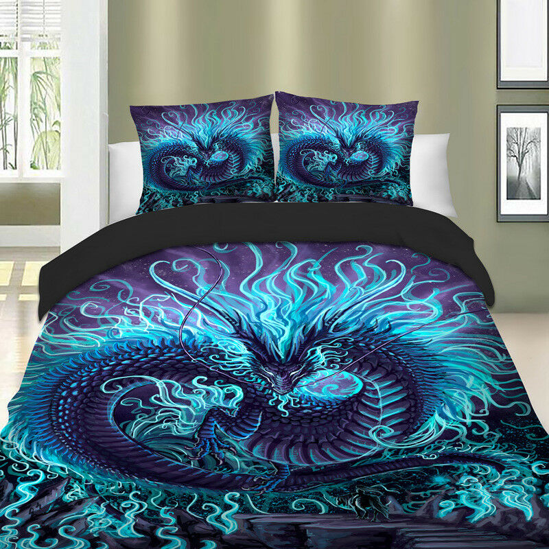 Double Full Twin Size fit Duvet and Pillows Covers Set GOTHIC DRAGON