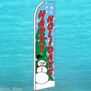 HAPPY HOLIDAYS SUPER FLAG Christmas Feather Swooper Bow Banner Flutter