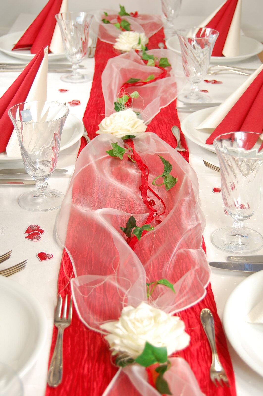 Komplette Tischdeko in rot-creme für  Hochzeit Muttertag Verlobung ectr.