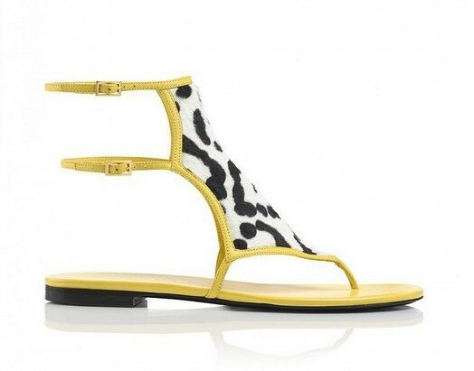 New Tamara Mellon Jungle Yellow Fever Yellow Jungle Black White Pony Flat Sandals 36 36.5 37 702bed