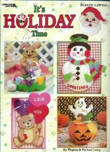 It-039-s-Holiday-Time-Plastic-Canvas-Leisure-Arts-1885-Pumpkin-Ghost-Snowman-2000