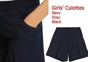 Girls-School-Culottes-School-Uniform-Shorts-Grey-Black-Navy-Ex-M-S-All-Sizes