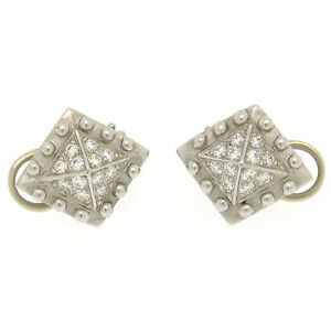 Barry-Kieselstein-Cord-Platinum-0-50ctw-E-VVS-Diamond-Pyramid-Clip-On-Earrings