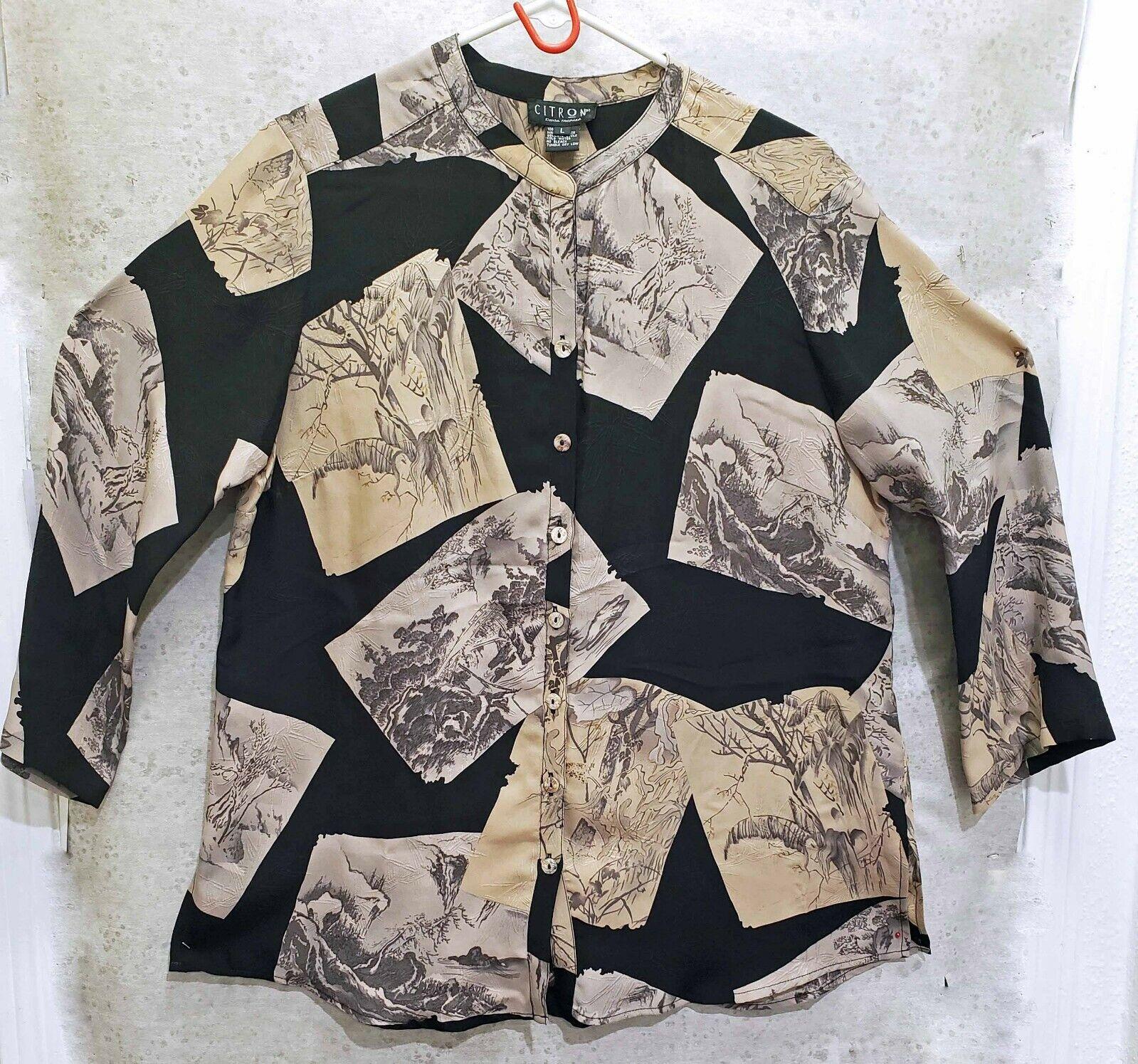 Citron Santa Monica silk tunic Asian scene Kimono sleeve  Größe L   XL