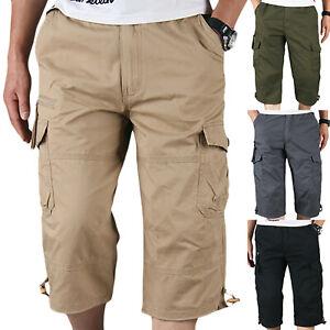 Mens-Elasticated-Waist-Combat-3-4-Knee-Length-Pocket-Cargo-Shorts-Pants-Outdoor