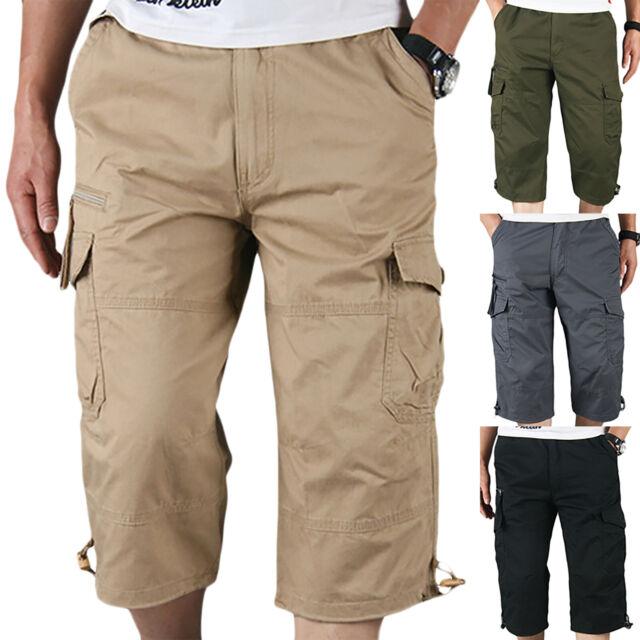 Mens Elasticated Cargo Shorts Summer Casual Cotton Combat Pants M L XL 2XL 3XL