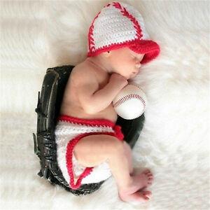 Crochet Newborn Photography Boy Infant Baseball Hat Diaper Cover Baby Photo Prop