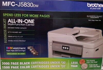 Wireless Connectivity Brother MFC-J5830DW All-in-One Color Inkjet Printer A...