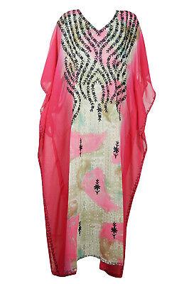 Luxury sheer Georgette Embroidered caftan dress Orange yellow kaftan abaya long dress Womens Kaftan Maxi Dresses