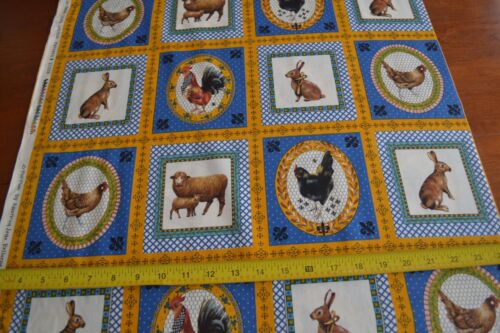 By 1//2 Yd Japan Moda//Le Petit Poulet//21508 14 B63 Country Animals on Quilting