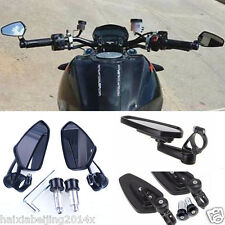 """Motorcycle Bike Handle Bar End Rearview Side BK Rear View Mirror 7/8"""" For BMW"""