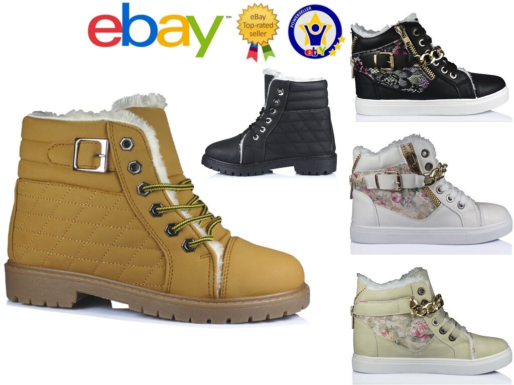WOMENS LACE UP ANKLE LADIES WINTER QUILTED BOOTS RUBBER GRIP FLORAL SHOES SIZE