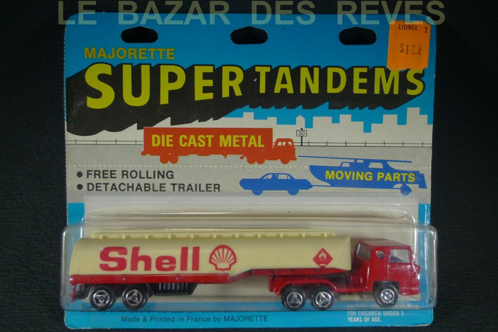 MAJORETTE FRANCE.Camion BERNARD citerne SHELL + blister export USA (lot2)
