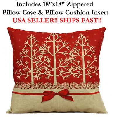 18x18 18 Merry Christmas Xmas X Mas Holiday Red Zippered Pillow Case Cushion Ebay