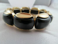 Monet Gold & Black Beaded Statement Bracelet, Detailed, Shiny, Signed