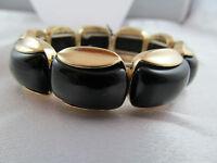 Monet Gold & Black Beaded Statement Bracelet, Detailed, Shiny, Signed