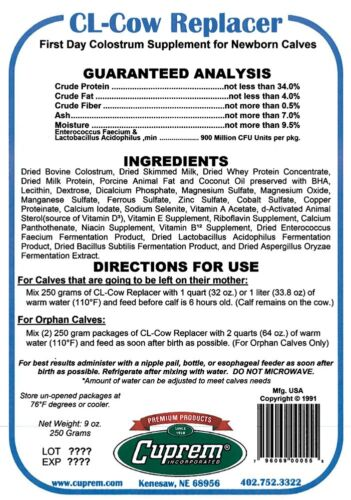 CL Cow Replacer Colostrum Replacer Case of 12 Individual Servings Newborn Calves