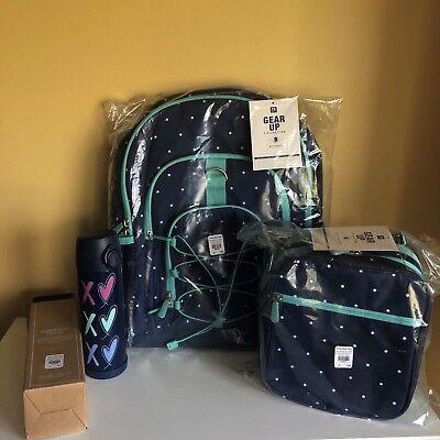 Pottery Barn Kids Teen Gear Up Backpack /& Lunch Bag Set Navy Blue Aqua No Mono