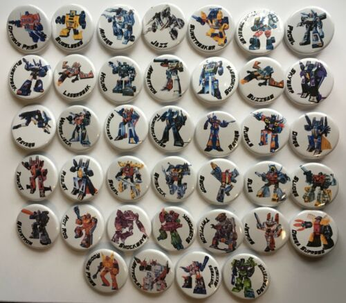 "1984 G1 Transformers Lot of 39 1 1//4/"" Pinback Buttons or Magnets"