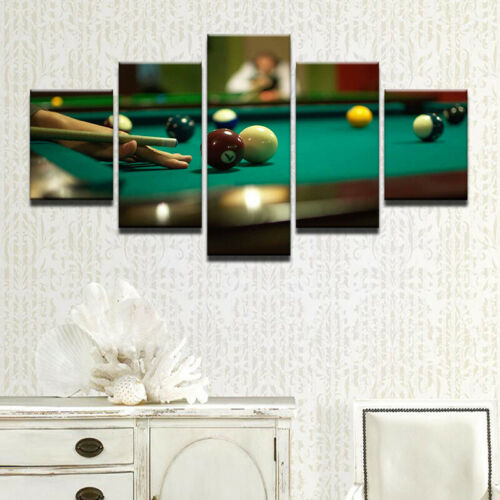 Playing Billiards Pool Player 5 panel canvas Wall Art Home Decor Print Painting