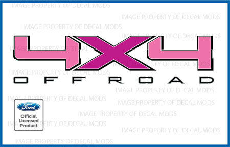 09/<-/>14 Ford F150 4x4 Off Road Decals FDLP set of 2 Stickers bed side pink