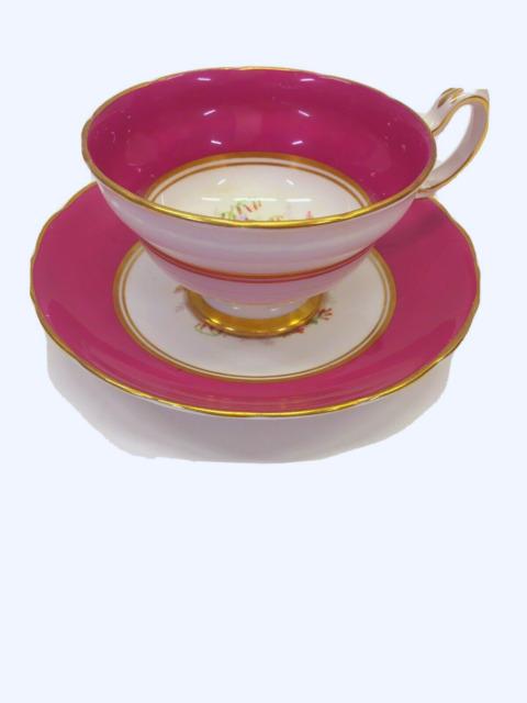Vintage Red Chintz GROSVENOR Tea Cup & Saucer Set  made  ENGLAND teacup