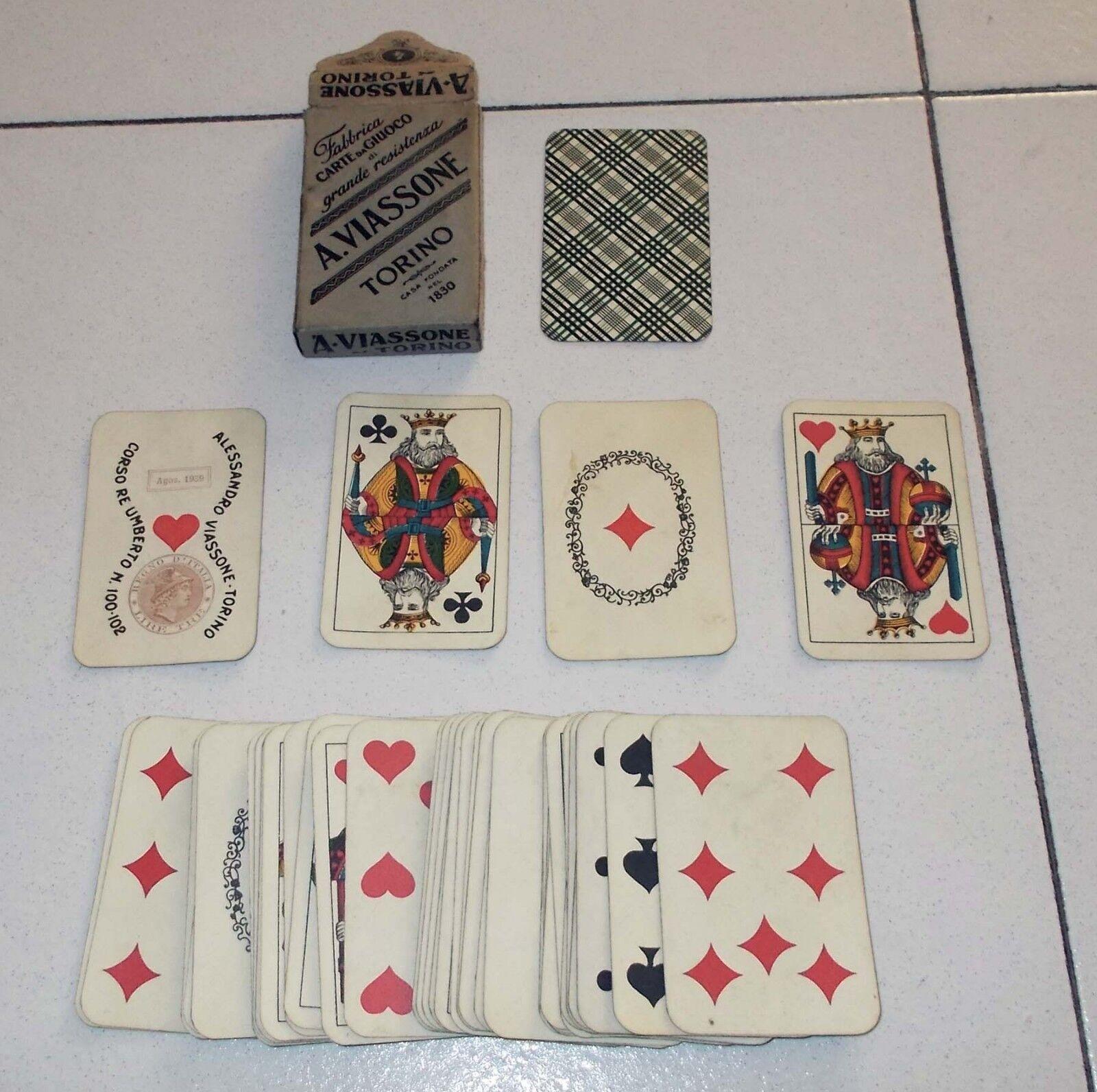 Carte da giuoco VIASSONE TORINO 1939 Regno d'Italia  Playing cards 40 carte