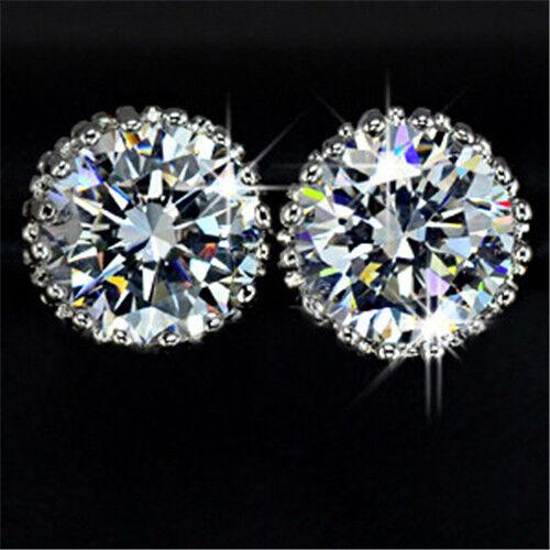 18K White Gold GP Austrian Swarovski Crystal Diamond Zircon Earrings Stud