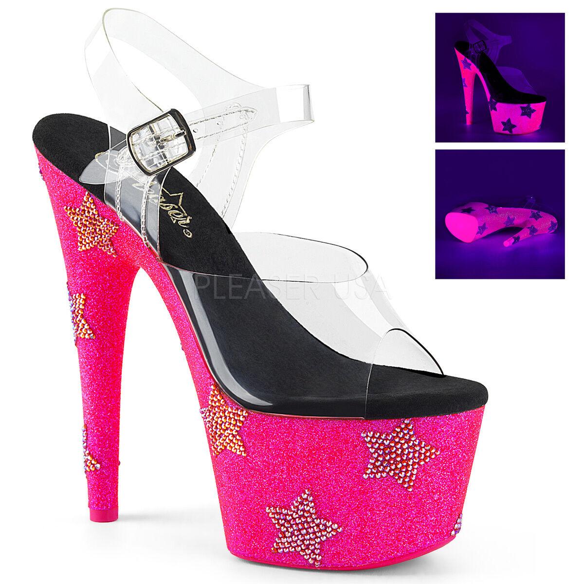 PLEASER 7  Heel Pink Glitter Platform Rhinestone Stars Ankle Strap Women shoes