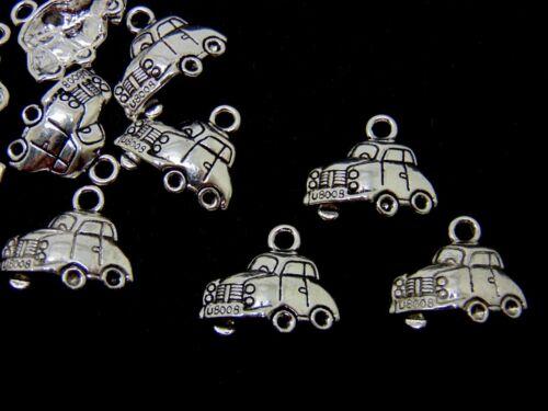10 pcs-Tibetan Silver VW Voiture Charms Beetle Taxi Bijoux Pendentif charm P163