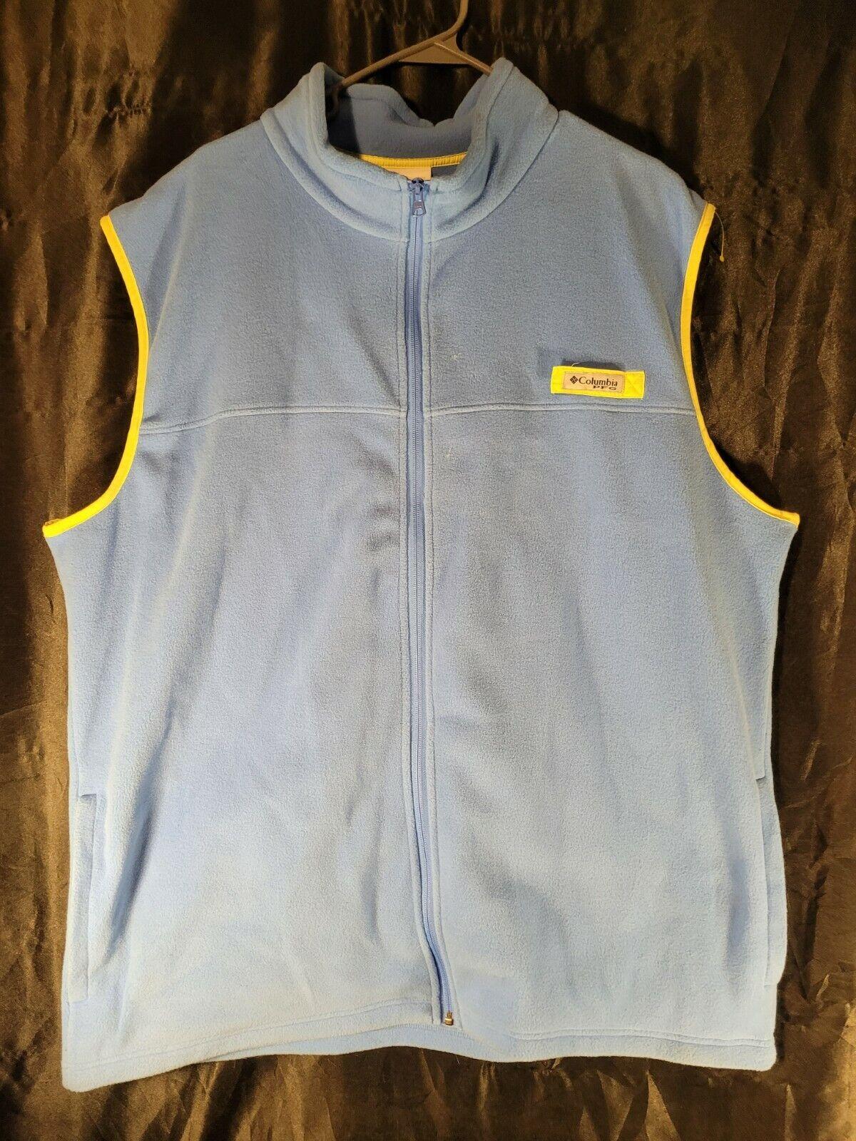Columbia FLEECE Vest Light Blue With Yellow Trim 2xt