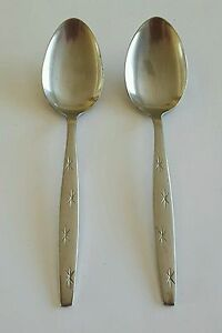 Vintage-Modern-Steel-Craft-Starburst-Flatware-Spoons-Set-of-Two-2-Japan
